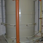 Akumulační nádrž 4m3 s řízenou regulací teploty termominerální vody v hotelu Purkyně.